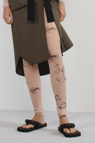 Image of humanoid webshop of printed legging with artwork by Petra Lunenburg