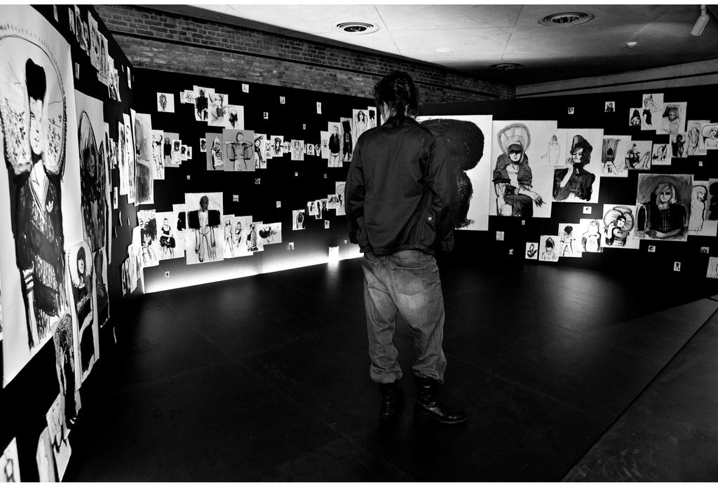 Photo of the installation of drawings by Petra Lunenburg  at the Zuiderzee Museum in 2009