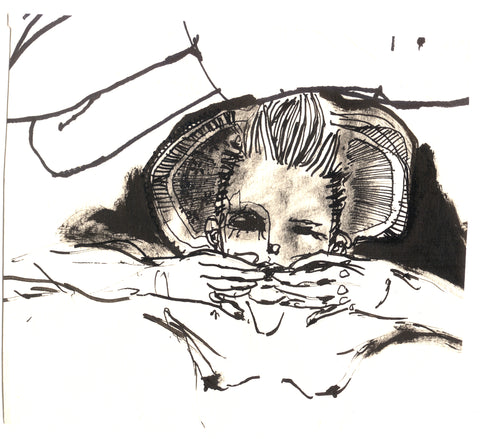 drawing in pen and ink of girl by Petra Lunenburg 2008