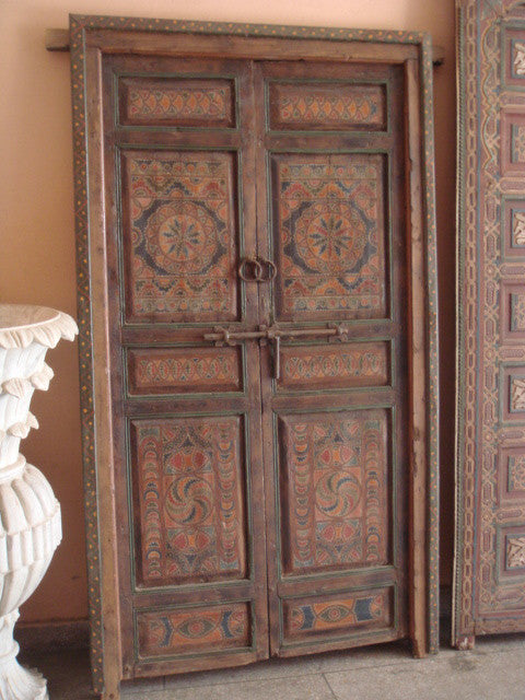 Jaffer Natural wood, Green and Red Double Doors - Jaffer Natural Wood, Green And Red Double Doors – The Modern Moroccan