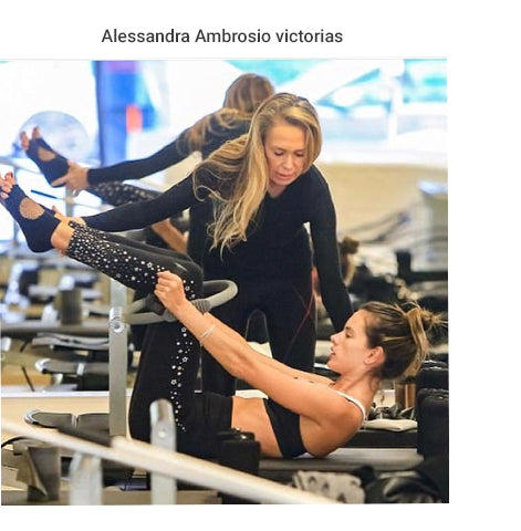 Alessandra Ambrosio Doing Workout Wearing Grip Socks by Arebesk