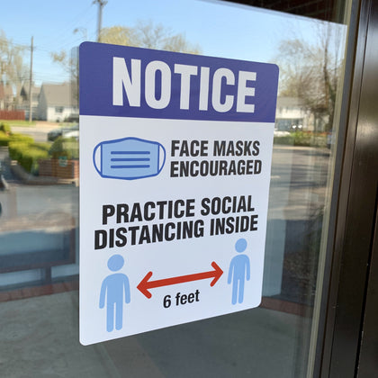 mask required window signs