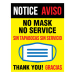 NO MASK NO SERVICE Bilingual Signs (5 decals)