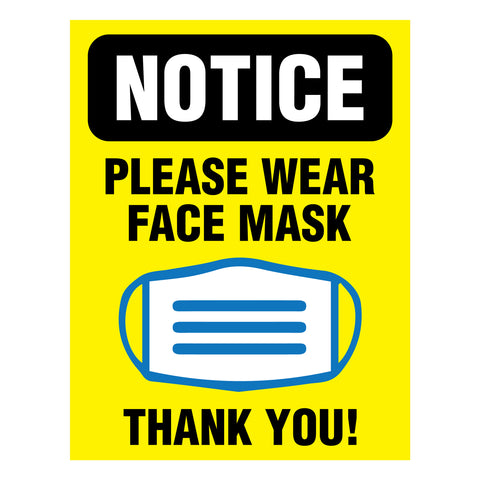 PLEASE WEAR FACE MASK Entry Signs (5 Decals)