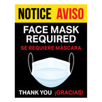 FACE MASK REQUIRED Bilingual Signs (5 decals)