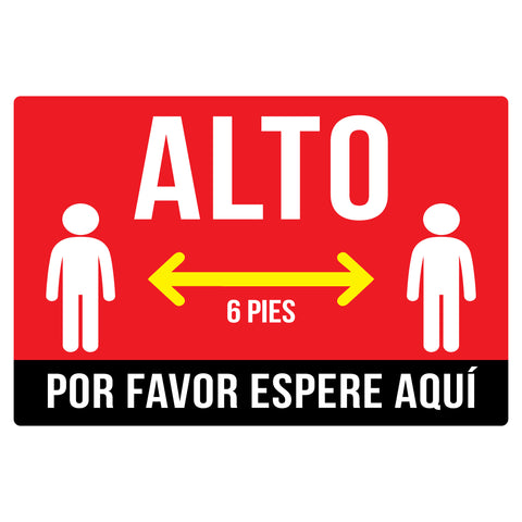 Alto 6 pies por favor espere aquí social distancing floor decals in Spanish