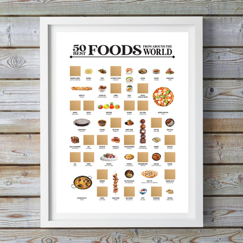 "50 Best Foods from Around the World Scratch Off ""Bucket List"" Poster"