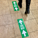 arrow one way floor decals help maintain social distancings