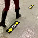 traffic flow one way floor signs