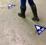 ONE WAY TRIANGLE STICKERS FOR FLOOR - BLUE (10 decals)