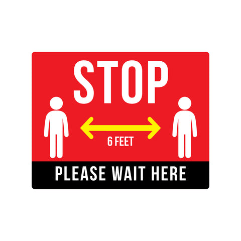 stop wait here safety floor decals