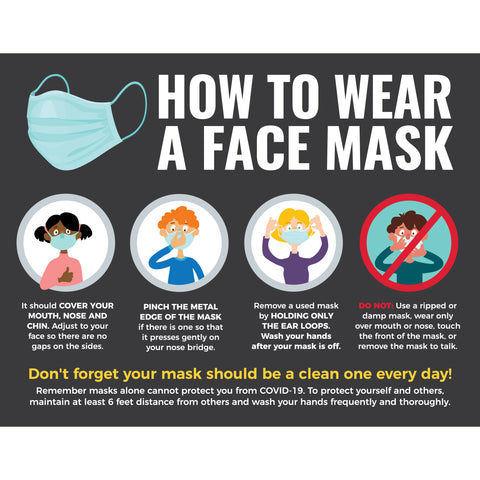 How to Wear a Face Mask (5 decals)