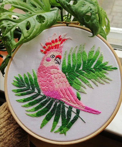 Embroidery of a bird pattern by Jenny Blair