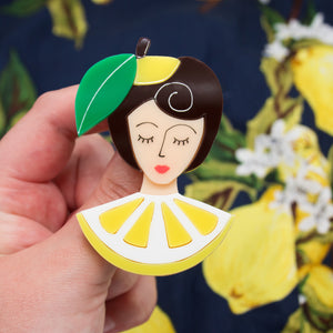 lemon brooch, pin up girl, acrylic jewellery, fruit, summer accessories