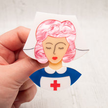 Load image into Gallery viewer, Pink Hair Nurse Grace Brooch