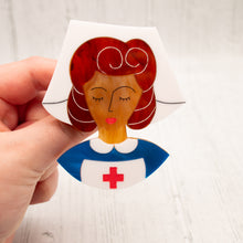 Load image into Gallery viewer, Brown Hair Nurse Grace Brooch