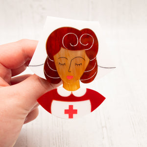 Brown Hair Nurse Grace Brooch