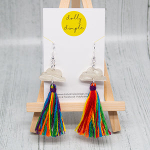 Cloud Tassel Earrings, Rainbow
