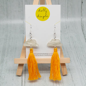 Cloud Tassel Earring, Mustard Yellow