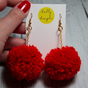 Red Pom-Pom Earrings
