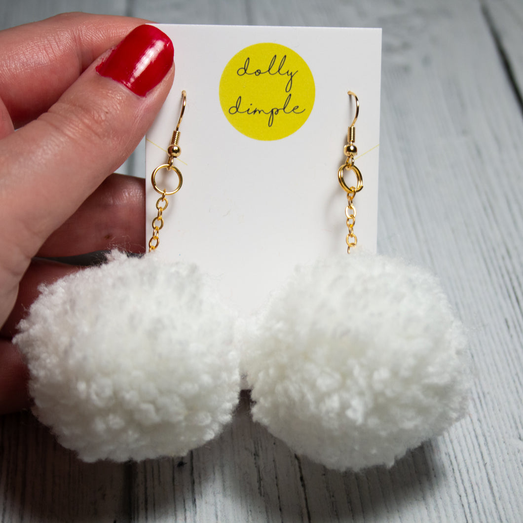 White Pom-Pom Earrings