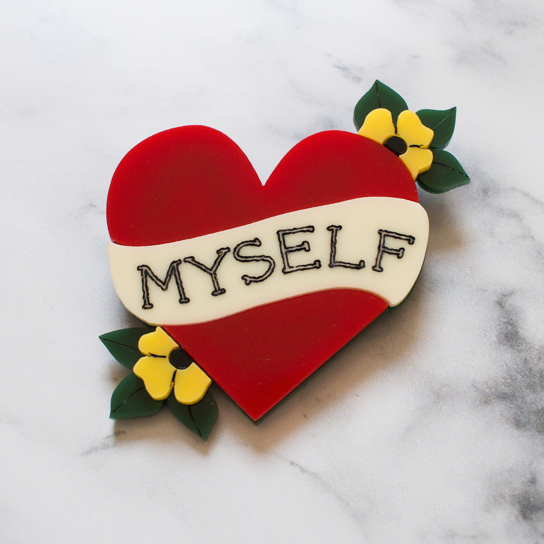 Self Love Heart Acrylic Brooch