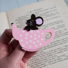 Load image into Gallery viewer, Dormouse Sleeping in Teapot Acrylic Brooch, Alice in Wonderland