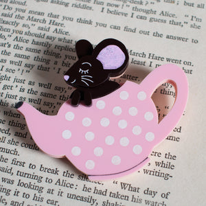 Dormouse Sleeping in Teapot Acrylic Brooch, Alice in Wonderland