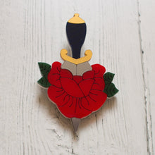Load image into Gallery viewer, Rose and Dagger Tattoo Inspired Acrylic Brooch