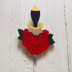 Rose and Dagger Tattoo Inspired Acrylic Brooch