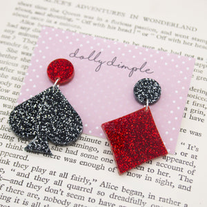 Card Suit Glitter Dangle Earrings