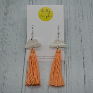 Cloud Tassel Earrings Peach