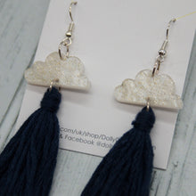 Load image into Gallery viewer, Cloud Tassel Earrings Navy Blue