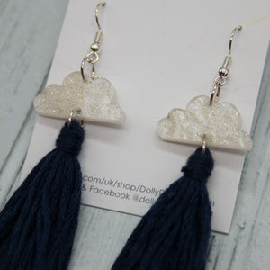 Cloud Tassel Earrings Navy Blue