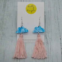 Load image into Gallery viewer, Cloud Tassel Earrings Baby Pink