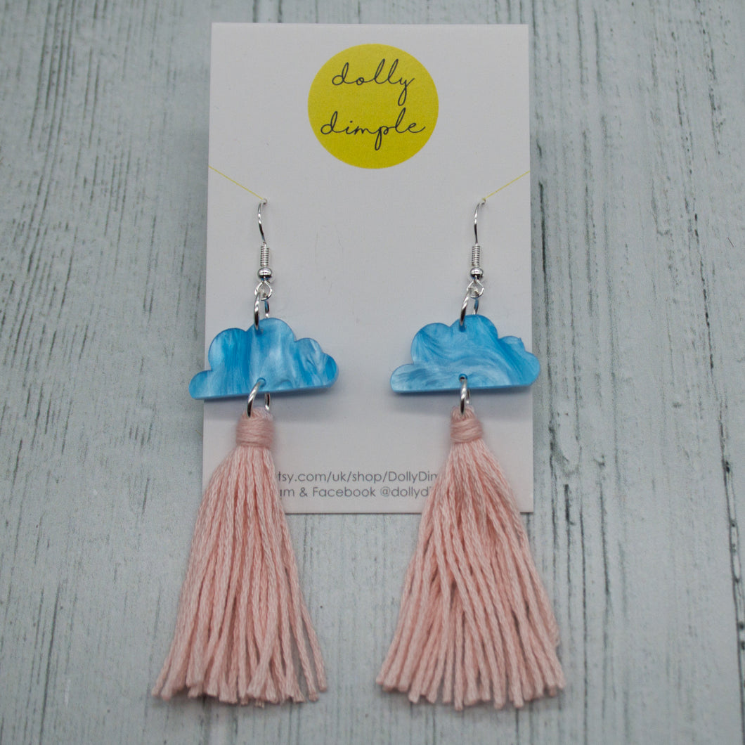 Cloud Tassel Earrings Baby Pink