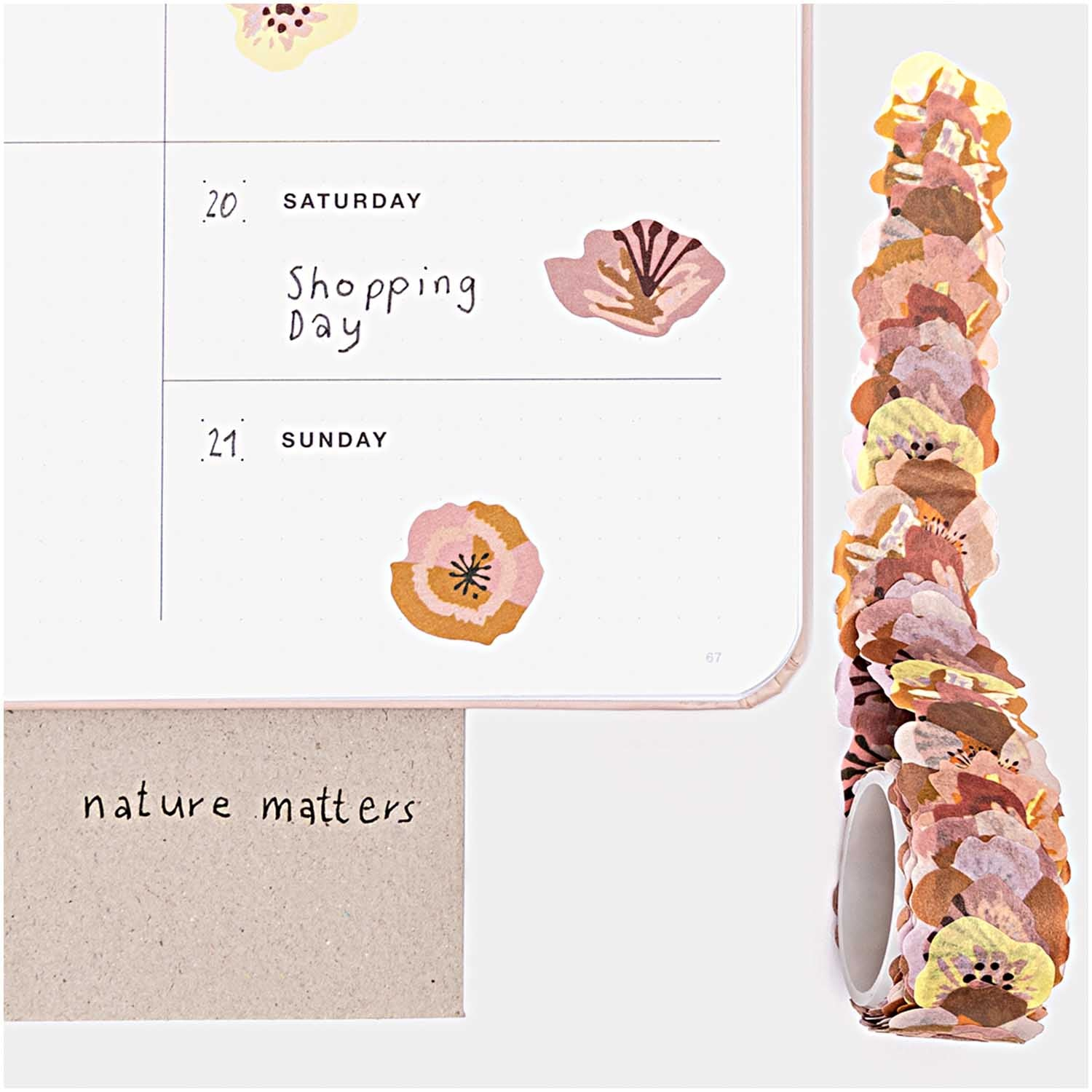 Paper Poetry Washi Sticker - Fall Flowers (Rol à 200 stuks)