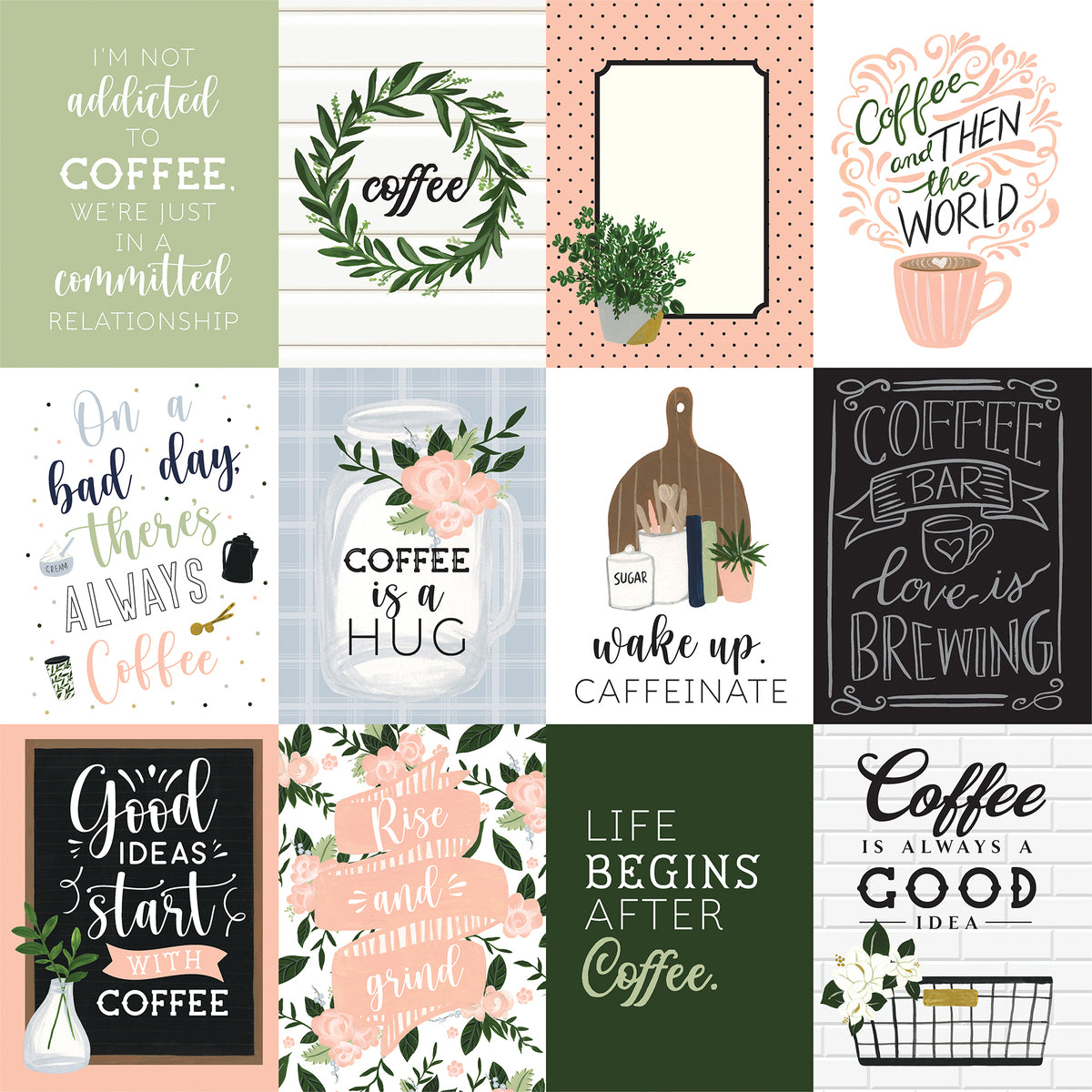Echo Park - Coffee and Friends Collection - 12 x 12 Dubbelzijdig Scrap papier - 3 x 4 Journaling Cards