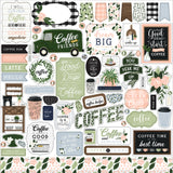 Echo Park - Coffee and Friends Collection - 12 x 12 Cardstock Stickers - Elements