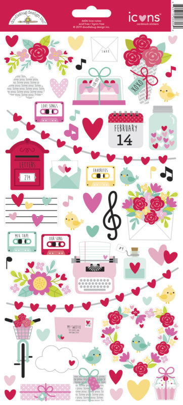 Doodlebug Design Stickers - Love Notes Collection Icons