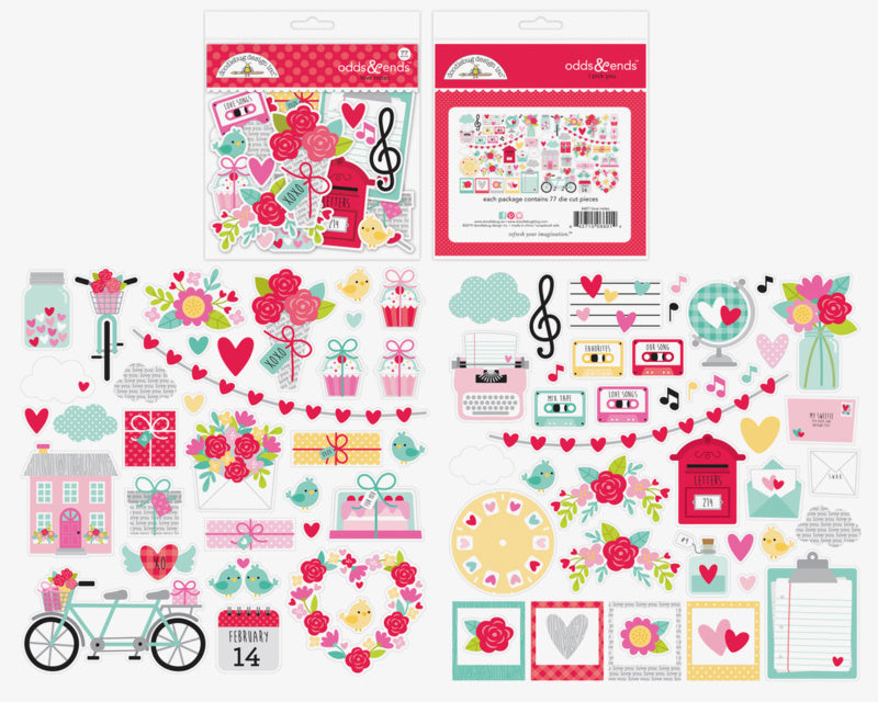 Doodlebug Design Die Cuts - Love Notes Collection Odds and Ends