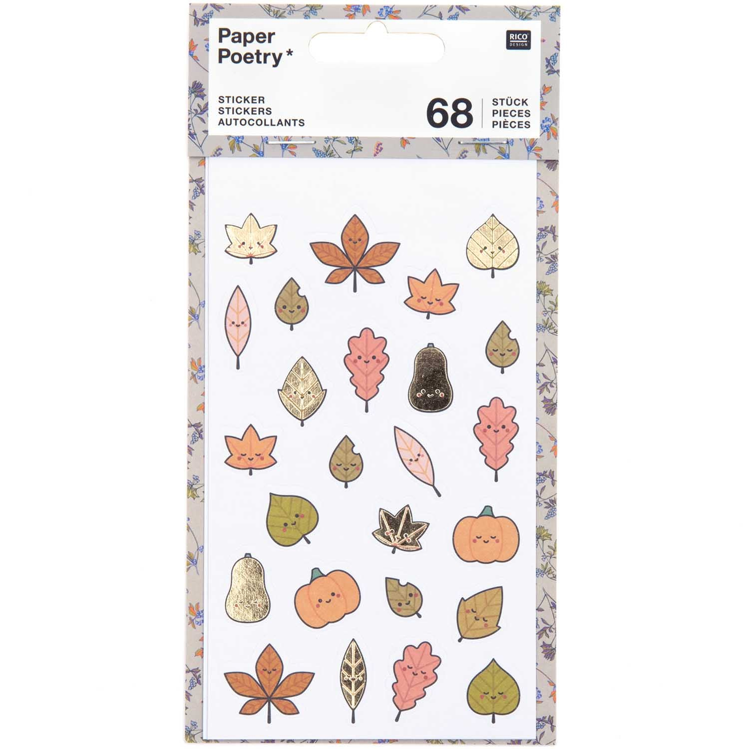 Paper Poetry Funny Fall Stickers -  Fall Leaves