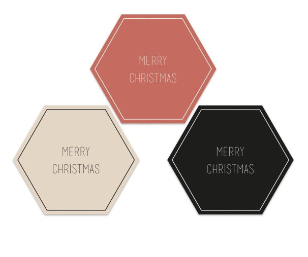 Cadeau Stickers Kerst- Multi color Text - 5,5 cm -per 20