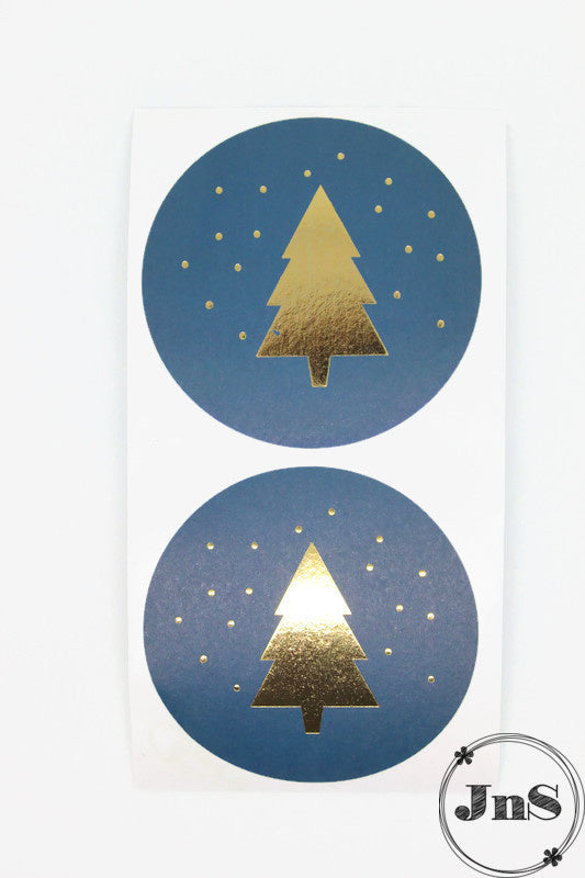Cadeaustickers Kerst - Christmas tree  - Petrol Gold - 5,5 cm - per 20