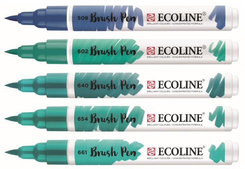 Talens Ecoline Brushpen set 5 - Green Blue