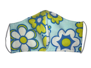 Face covering in Blue Flower Power