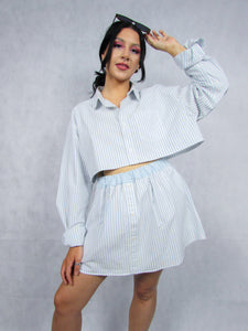 Shirt Co-ord in White Stripe
