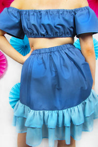 Ruched Friller Skirt in Blue