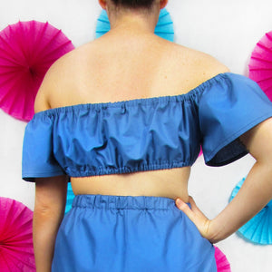 Ruched Bardot Top in Blue