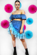 Load image into Gallery viewer, Ruched Friller Skirt in Blue